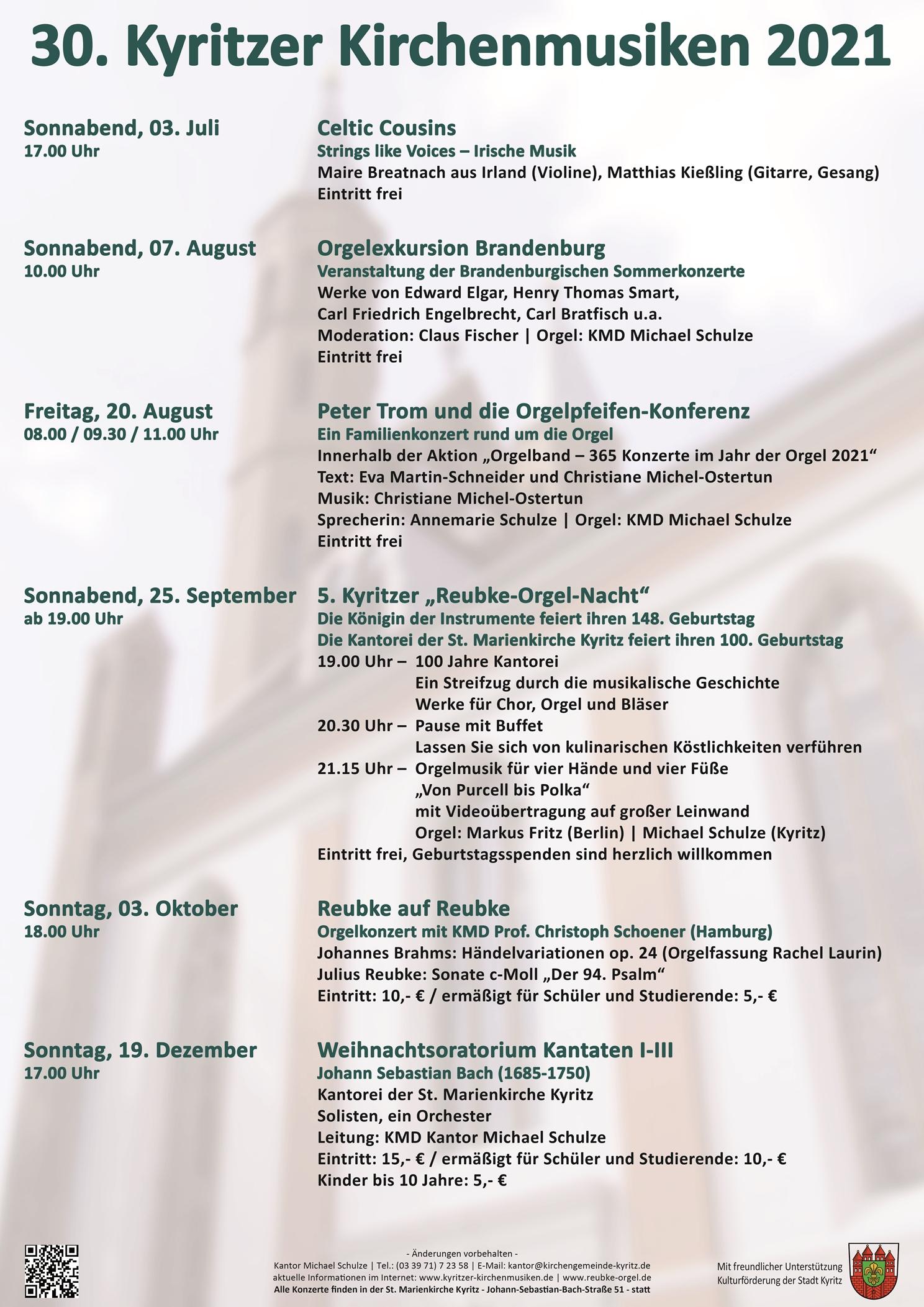 30. Kyritzer Kirchenmusiken 2021